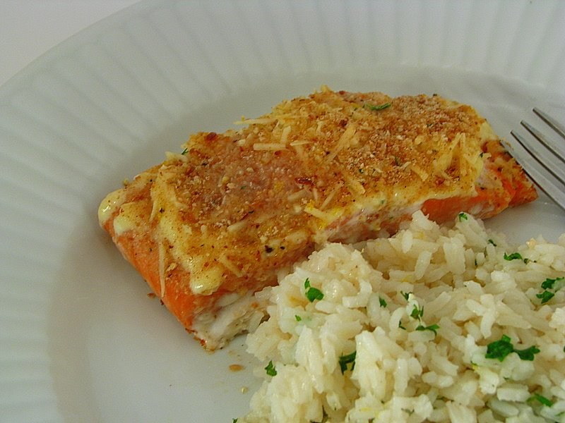 Baked salmon with lemony rice pilaf momadvice for Baked fish and rice
