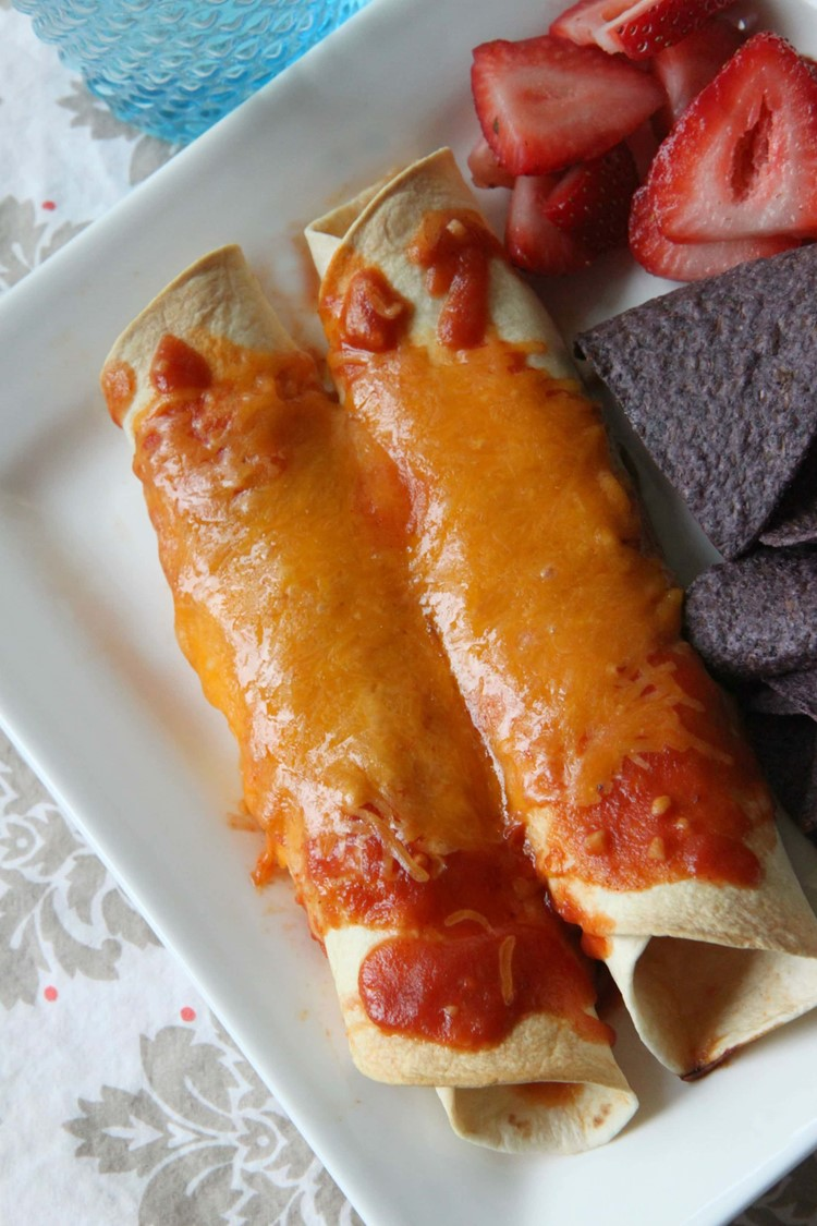 Use shredded chicken for enchiladas