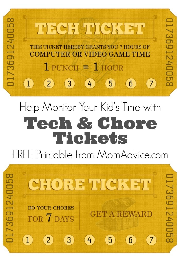 photo about Printable Reward Tickets referred to as No cost Printable Chore Tech Season Tickets - MomAdvice