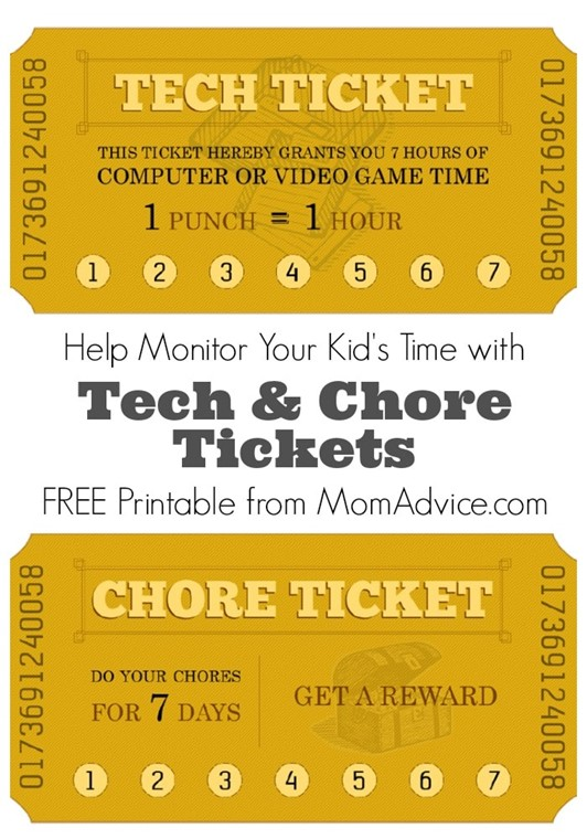 Free Printable Chore & Tech Time Tickets