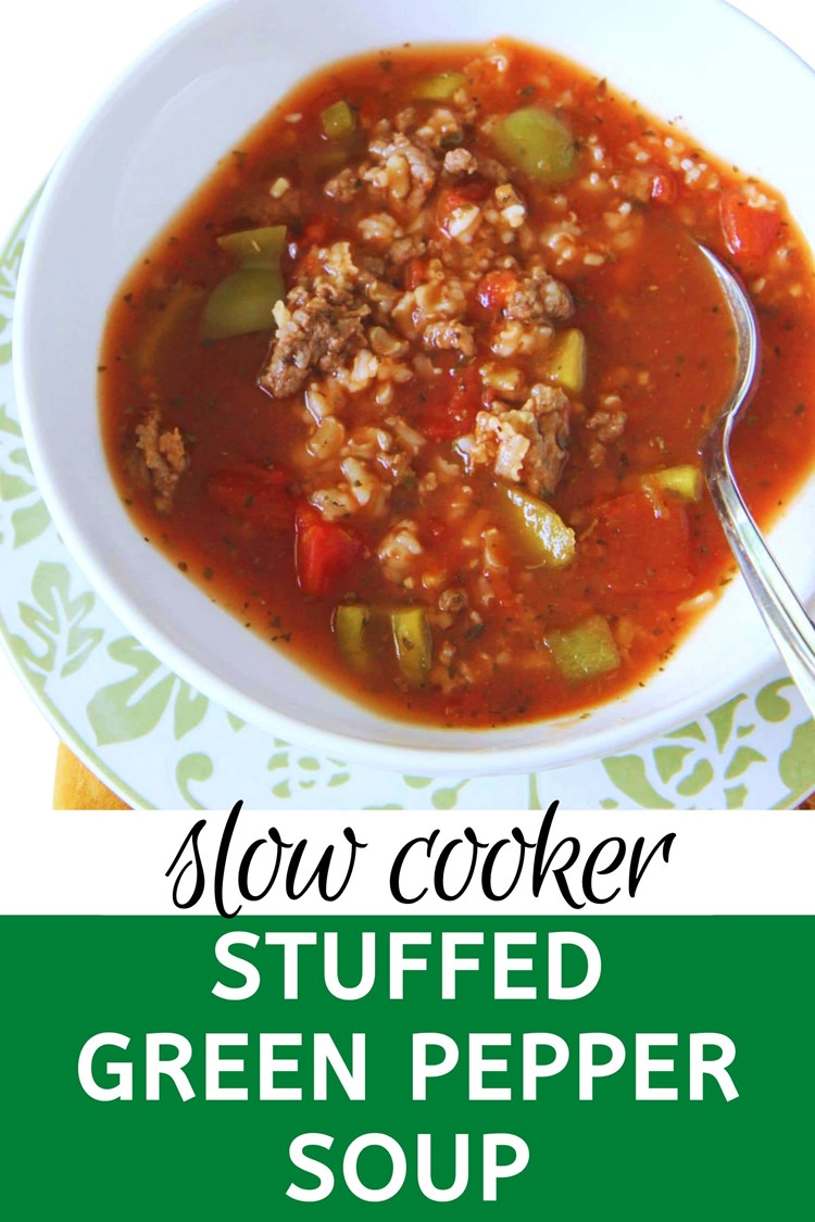 Slow Cooker Stuffed Green Pepper Soup from MomAdvice.com