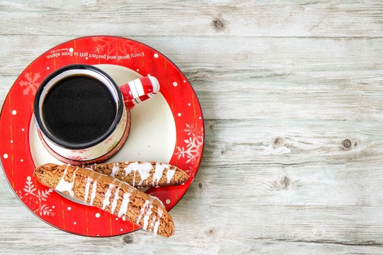 Gingerbread Biscotti with a Cup of Coffee