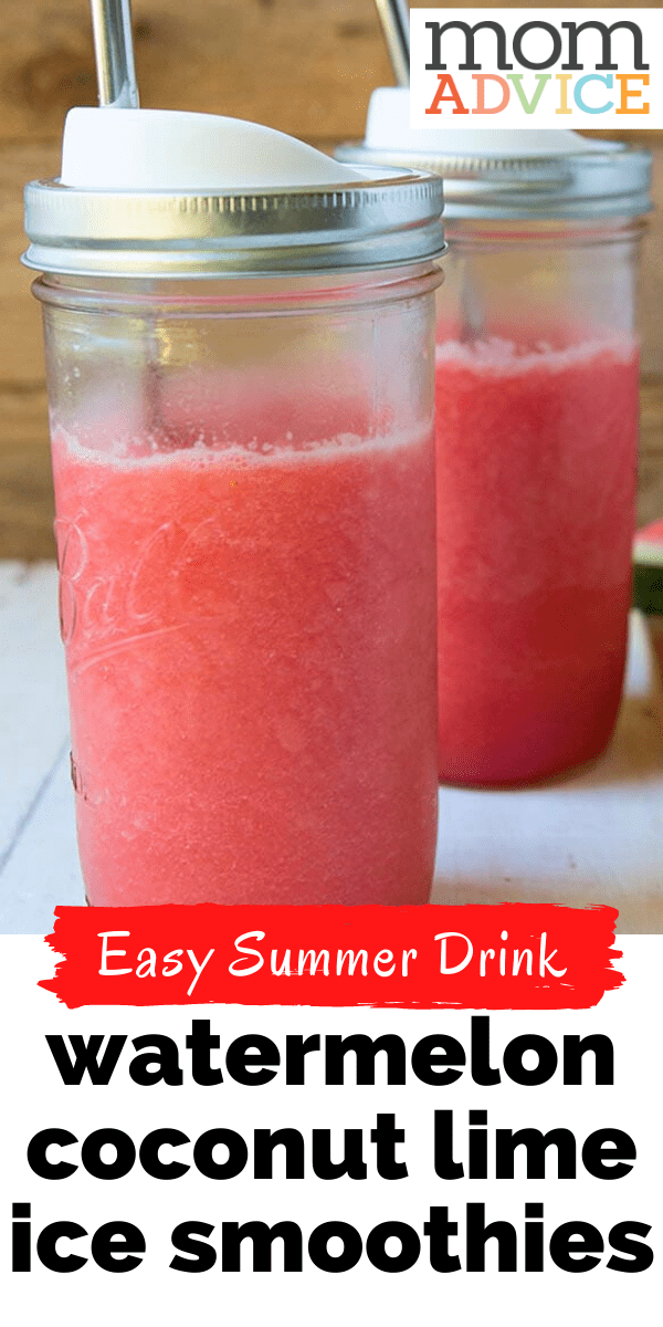 Watermelon Coconut Lime Ice Smoothies from MomAdvice.com