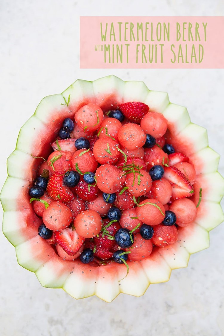 Mint Watermelon Berry Fruit Salad from MomAdvice.com