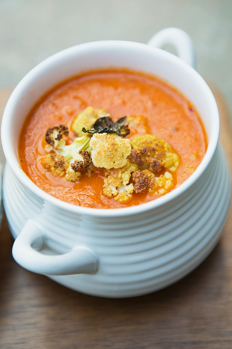 Tomato Soup with Roasted Cauliflower Crumble