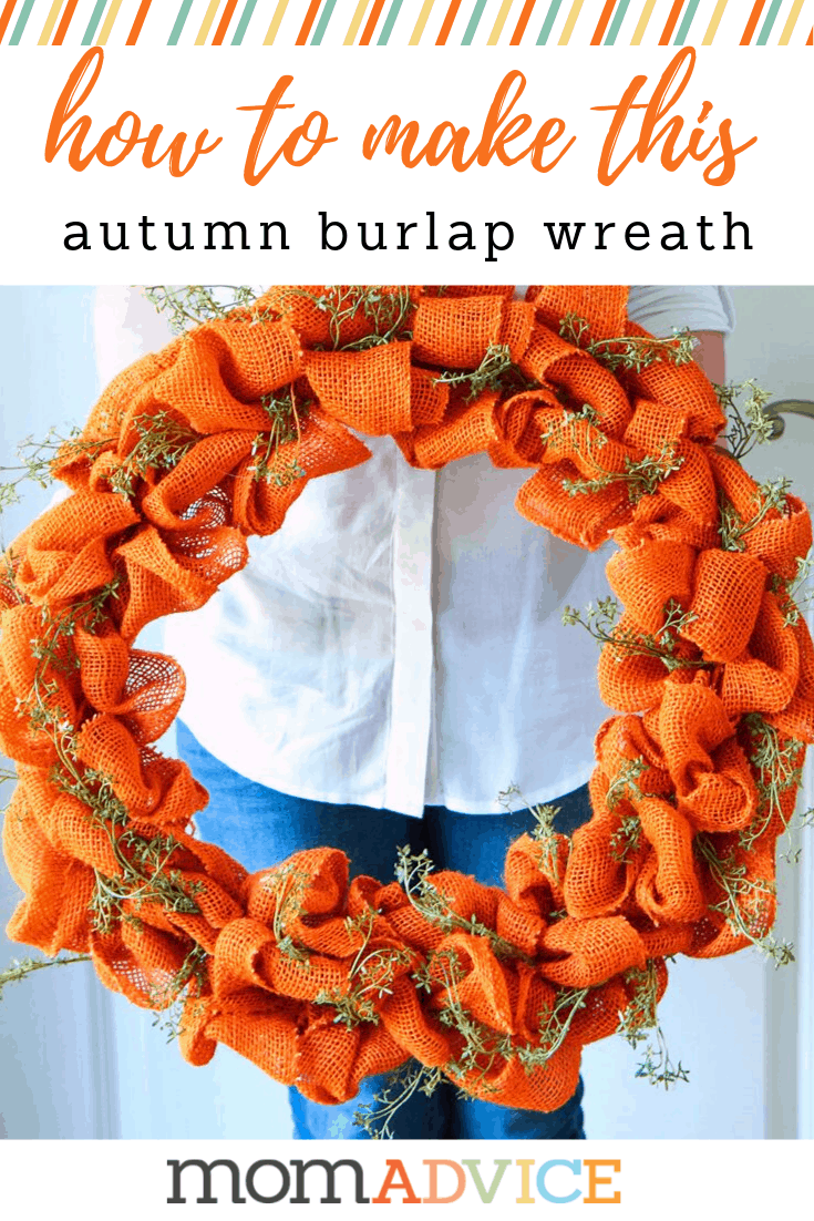 how to make an autumn burlap wreath from momadvice.com