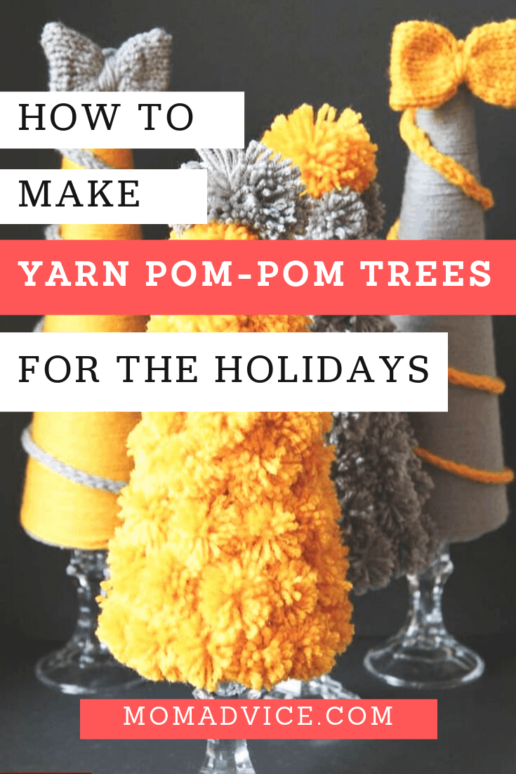 how to make yarn pom pom trees