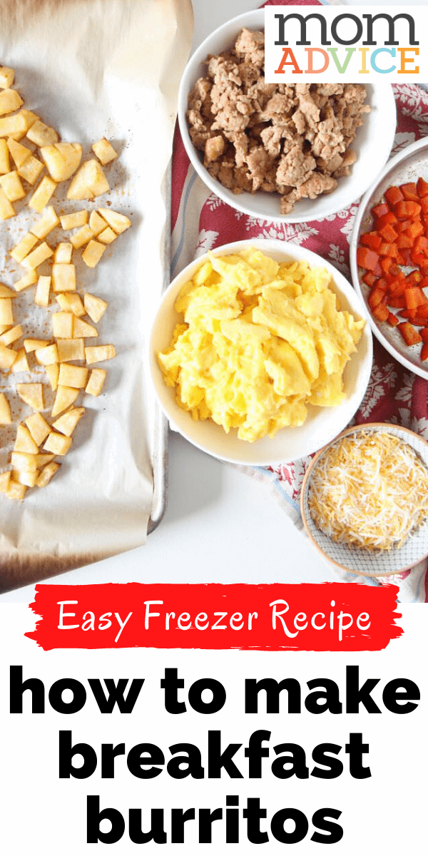 Make ahead  and freeze these breakfast burritos from MomAdvice.com