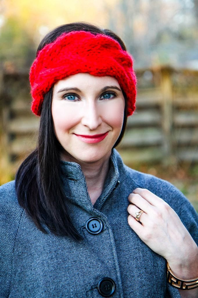 Ear Warmer Headband Knitting Pattern from MomAdvice.com in Red
