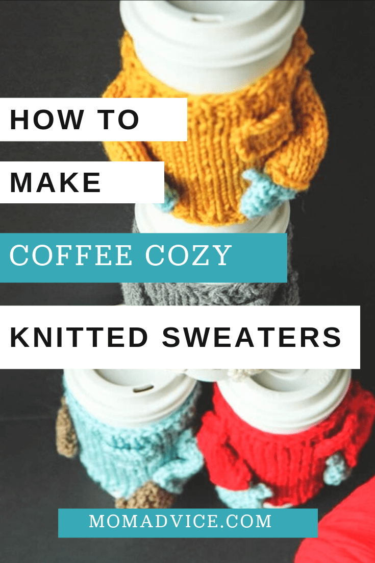 knitted coffee cozy sweater tutorial