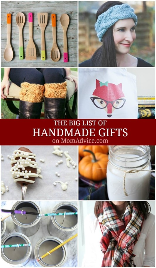 The Big List of Handmade Gifts on Mom Advice