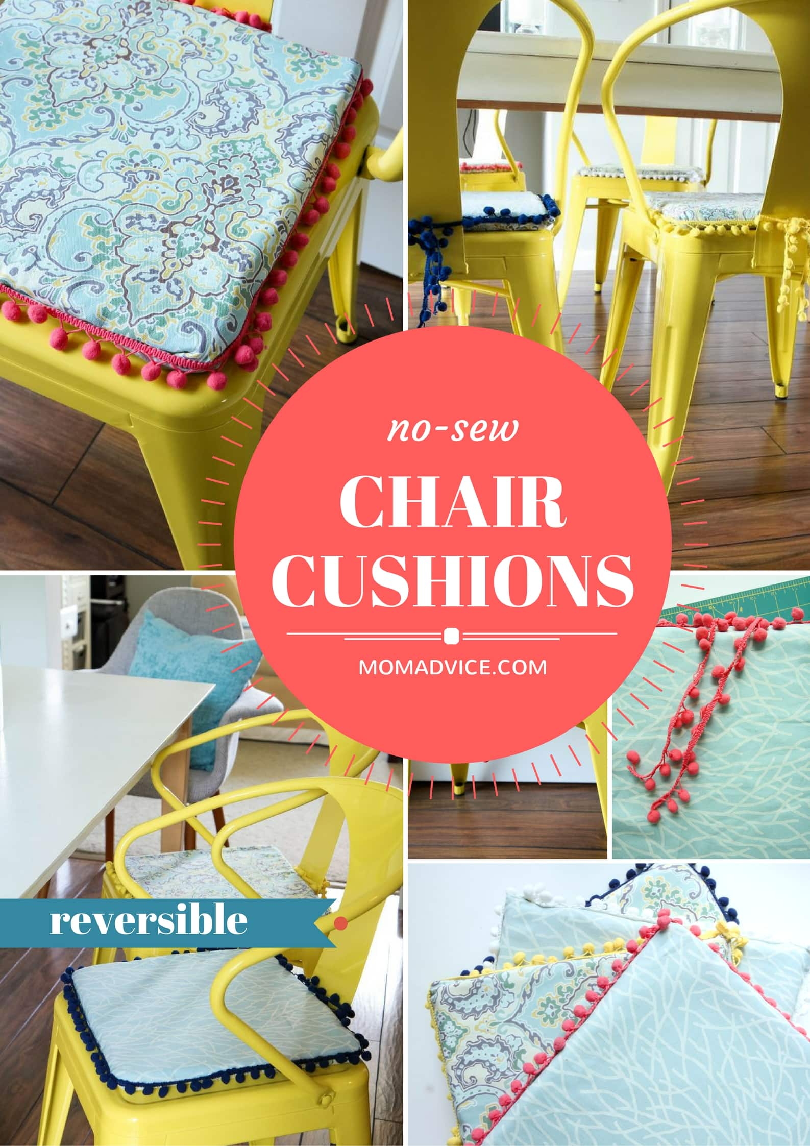 Diy No Sew Reversible Chair Cushions