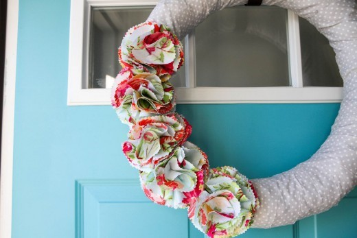 Fabric Flower Wreath for Spring