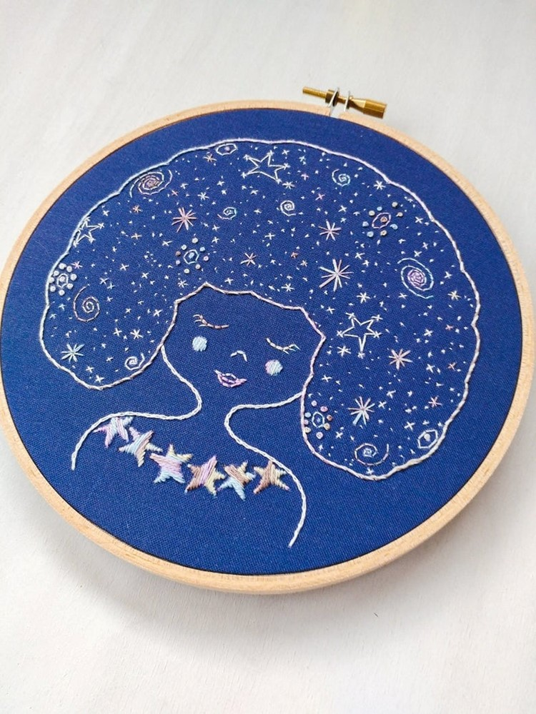 galaxy girl embroidery