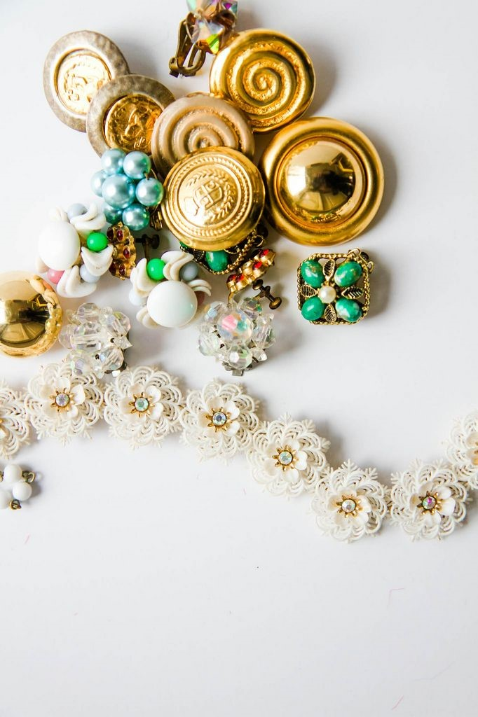 Vintage Jewelry for Burlap Pom Poms